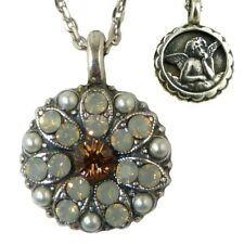 Mariana Guardian Angel Crystal Pendant Silver Necklace 3911 Orange Opal Pearl