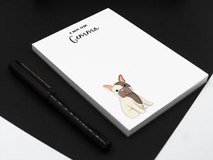 Personalised French Bulldog Notepad. Personalised  A6, Dog Desk pad
