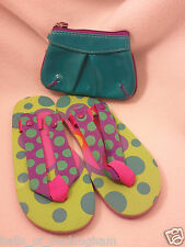 Set 2 Girls Gifts Polka Dot Snap On Sandals Flip Flops Bath&BodyWorks Zipper Bag