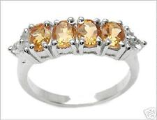 1.60ctw CITRINE ovals & WHITE TOPAZ rounds NEW Size 7