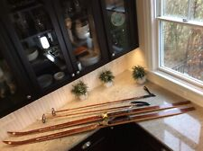Vintage BONNA NOR -Lett Turski Cross Country Skis w Bamboo Poles. Made in Norway