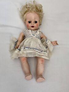 Pedigree England Hard Plastic Antique Vtg Baby Doll Blonde Hair Sleep Eyes AS IS