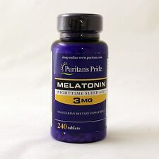 Puritan's Pride Melatonin 3 mg 240 Count Tablets Sleep Aid 120 x 2