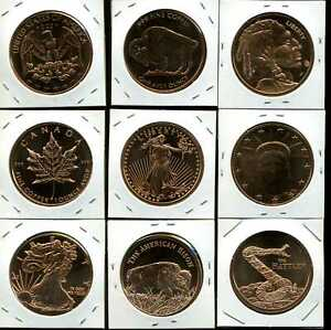 Mixed Lot of Nine (9) Proof 1 oz Copper Rounds