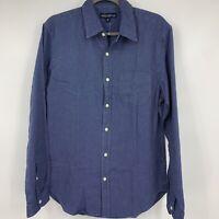 J Crew mens shirt medium button down long sleeve blue dots casual business NEW