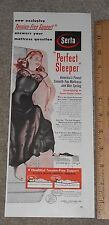 """1952 Serta """"Perfect Sleeper"""" Smooth Top Mattress Lady in Lingerie Ad"""