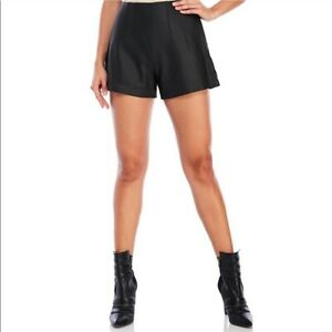 Kendall Kylie High Waist Genuine Super Soft Leather Shorts Black, Small