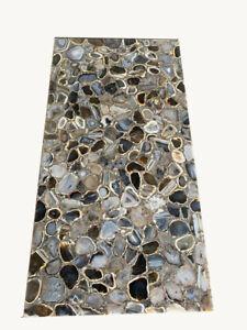 "48"" x 24"" Agate Table Top semi precious stones Handmade Work Home Decor"