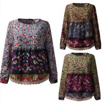 UK 8-24 Womens Long Sleeve Floral Printed Cotton Tunic Tops Blouse T Shirt Plus