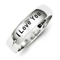 925 Sterling Silver Polished & Antiqued I Love You Ring Band Size 6 - 8