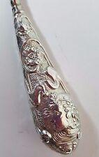 Antique HM Silver Button Hook, LARGE ART NOUVEAU EMBOSSED NYMPH & FLOWERS 1905