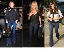 J Brand Love Story Jeans Sz 24 Low Waist Flare w Stretch Dark Blue Distressed