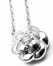 Authentic! Chanel 18k White Gold Diamond Camellia Camelia Pendant Necklace