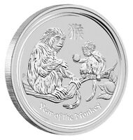 2016 P Australia Silver Lunar Year of the Monkey (1 oz) $1 GEM BU In Capsule