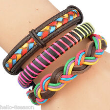 3PC Mens Multicolor Weave Adjustable Leather Bracelet Multilayer Woven 20cm-22cm