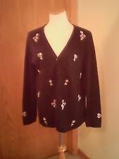 Designers Originals women's black sweater, floral accents, V - neck, L, acrylic