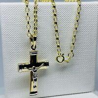 "Genuine 9ct Yellow Gold Crucifix Pendant Neclace Chain 2mm Belcher  20"" New"