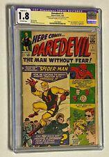 DAREDEVIL #1 Marvel Comics STAN LEE Signed 1964 CGC 1.8 Origin & 1st Appearance