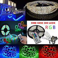 5M RGB 5050 SMD 300 Leds Strip LED Flexible Light 12V DC IR Remote Power Adapter
