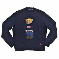 Polo Ralph Lauren Bear Sweater USA Flag Cable Knit Teddy Bear MENS S SMALL BLUE