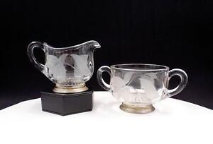 "ELEGANT GLASS FROSTED FLORAL STERLING SILVER BASE 3 1/4"" CREAMER AND SUGAR"