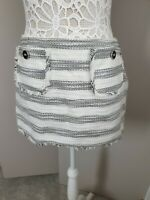 River Island | Size 12 | Tweed Boucle Style Mini Skirt Knitted Cream White Black