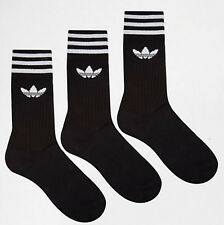 Adidas originals Socks 3 Stripes Crew trefoil 3 Pairs black men women UK 8.5-11