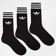 Adidas Originals Chaussettes 3 rayures ras du cou Trèfle Noir 3 Paires Hommes Femmes UK 8.5-11
