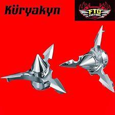 Kuryakyn Chrome Spun Blade Spinning Axle Caps 2008 and up Harley Davidson  1234