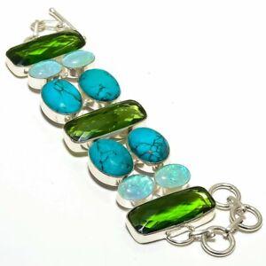 "Santa Rosa Turquoise & Peridot Gematone 925 Sterling Silver Bracelet 7.99"" B-705"
