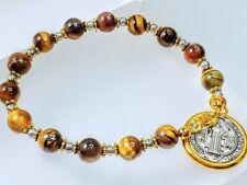 Beautiful Tiger Eye Bead Double Sided St Benedict Charm Coin Religious Bracelet