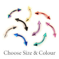 Curved Eyebrow Bar Banana Barbell Tragus 316L Steel 16G 9Colours 3mm Spike CONES