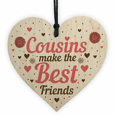 Cousin Heart Plaque Best Friend Friendship Sign Wooden Birthday Christmas Gifts
