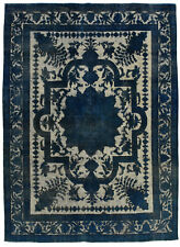 Vintage Turkish Overdyed Rug, 10'x13', Blue, Hand-Knotted Wool Pile