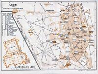 León 1912 pequeña mapa ciudad orig. Catedral Casa Guzmanes *barrios proyectados
