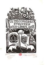 EX-LIBRIS de Jean LÉBÉDEFF pour le VIème Congrès d'Ex-libris de Barcelone. 1958.