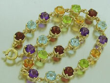 Genuine 9ct Gold NATURAL Multi Gem Line Tennis Bracelet Garnet,Topaz, Amethyst