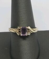 Diamonds Ring Size 10.25 Vintage Sterling Silver Amethyst And