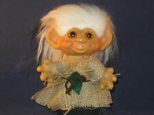 "1965 6"" Dam Tailed Troll Org Eyes,New White Hair W/Black Tips & Outfit U501"