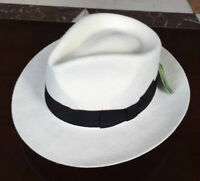 New Unisex White/Black Women Men's Classic Wool Felt Mafia Fedora Hat Godfather