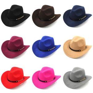 Women Men Western Cowboy Hat Wool Blend Wide Brim Cowgirl Cap Chain Leather Band