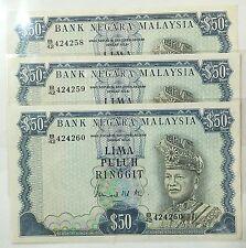 Malaysia banknote 3pcs rm50 running