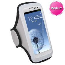 Gray White Sports Gym Running Jogging Walking Armband Case Phone Holder Strap