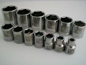 "NEW Lot Craftsman 13pc 3/8"" SAE/Standard Dual Marked Laser Socket Wrench Set 6pt"