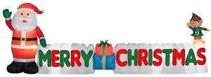 Gemmy Merry Christmas Santa & Elf 12 ft Inflatable Yard Decoration