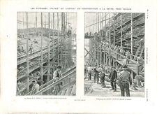 Chantier naval de La Seyne sur Mer cuirassé Justice en construction GRAVURE 1903