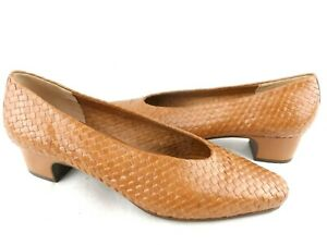 Enzo Angiolini Basket Weave Tan/Brown Low Heel Shoe Business Career Womens 8 M