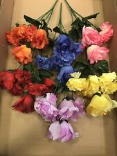 6x Roses Carnations Bunches Artificial Flowers Job lot Grave Wreath Fake Posy