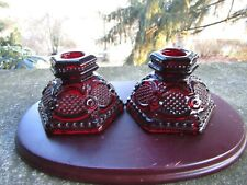 "2 x Vintage AVON Red Ruby Glass Cape Cod Candlesticks ~ 2.5"" H"