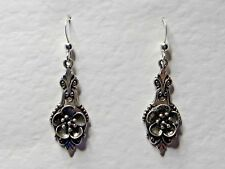 LOVELY QUALITY VICTORIAN STYLE DARK SILVER PLATED EARRINGS HOOK FLOWER DETAIL